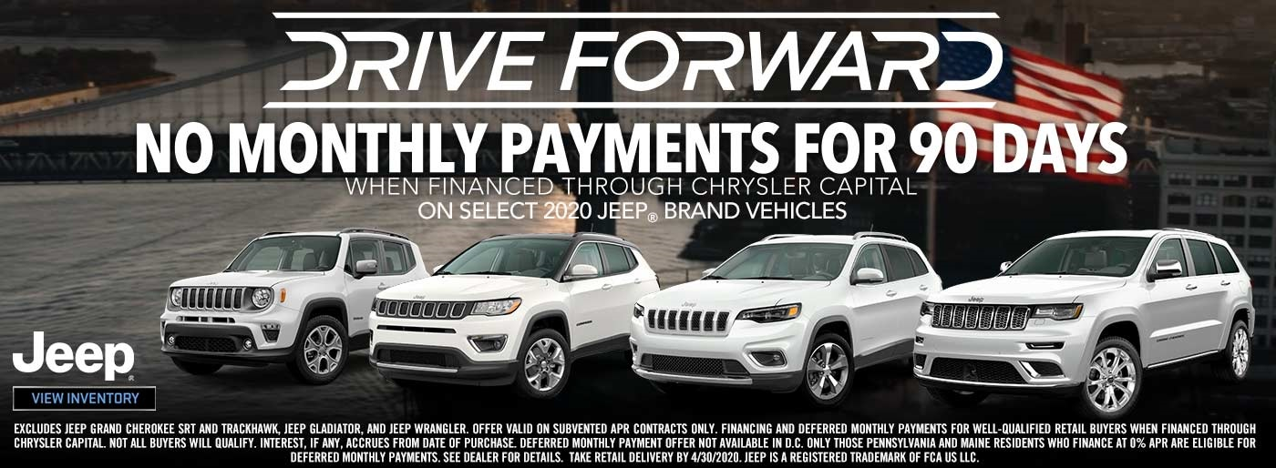 No Monthly Payments for 90 Days + 0% Financing / 84 Months - 2020 Jeep and Ram